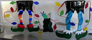 Elf Boot Pair Coe 96 Pre Cut - with White Cuff at www.happyglassartsupply.com