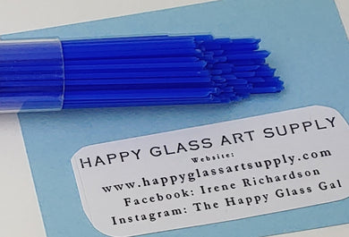Medium Blue Opal Opalescent System96 Oceanside Compatible™ Glass Stringers at www.happyglassartsupply.com Happy Glass Art Supply