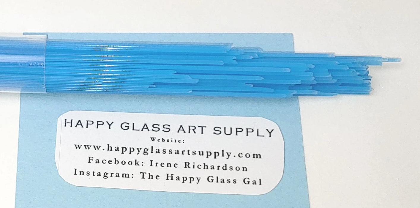 Turquoise Blue Opalescent Opal System96 Oceanside Compatible™ Glass Stringers at www.happyglassartsupply.com Happy Glass Art Supply