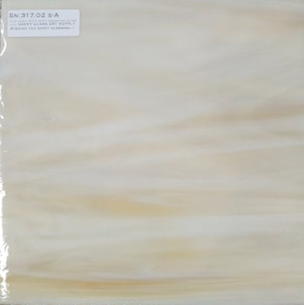 Pale Amber White Wispy Smooth Translucent Stained Glass by Spectrum Non-Fusible Art Glass at www.happyglassartsupply.com Happy Glass Art Supply