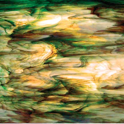 "Clear/White/Green/Brown ""Rainforest"" 96 6021.83cc Wispy Semi-Translucent Corsica Texture System 96® Oceanside Compatible™ Fusible Sheet Glass Fusion Fusing Happy Glass Art Supply www.happyglassartsupply.com"