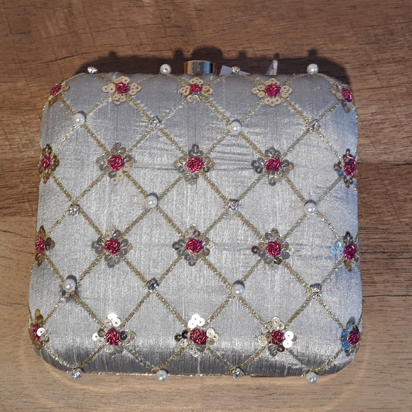 Checkered Gray Clutch