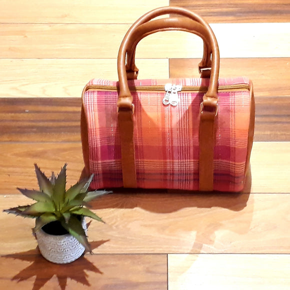 Pink checkered handbag
