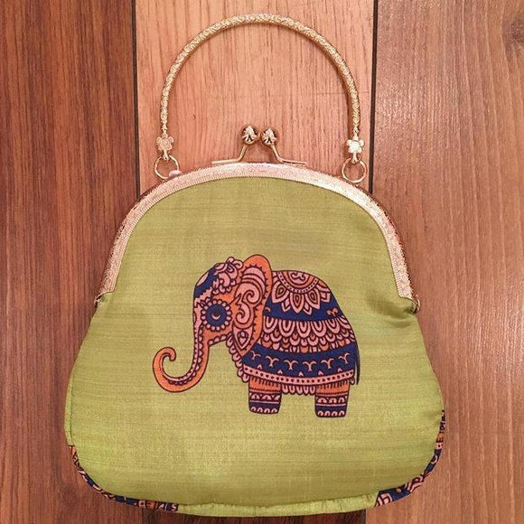 Small clutch with elephant motifs