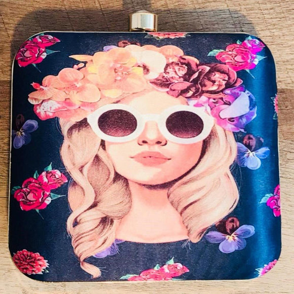 Printed Clutch - Blond Woman