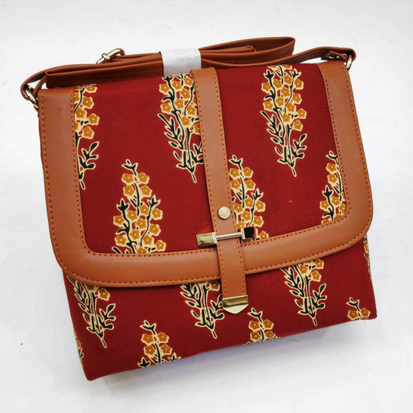 Block printed red handbag