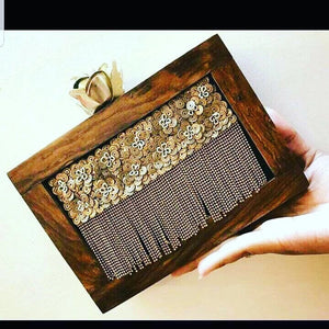 Wooden Clutch with gold sequences