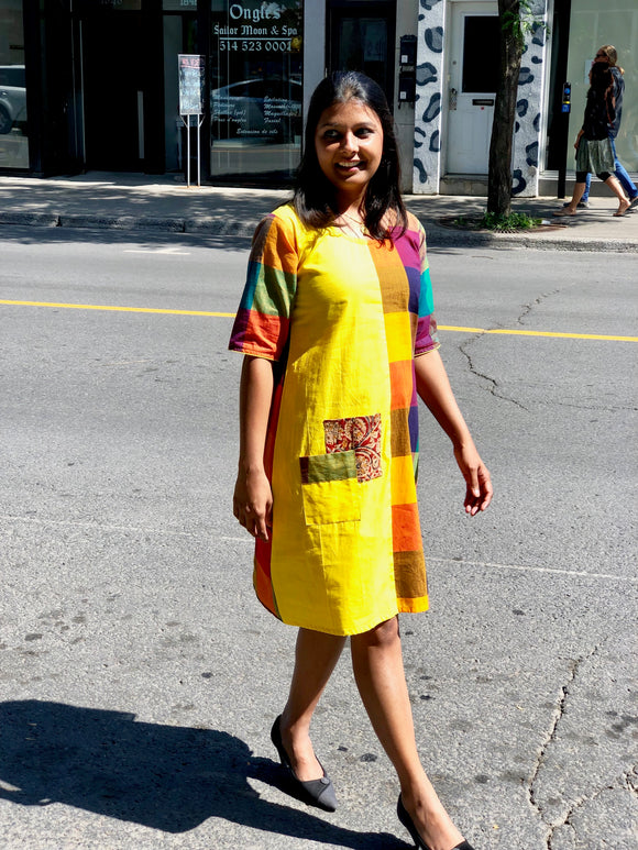 Handloom Cotton Dress - Yellow