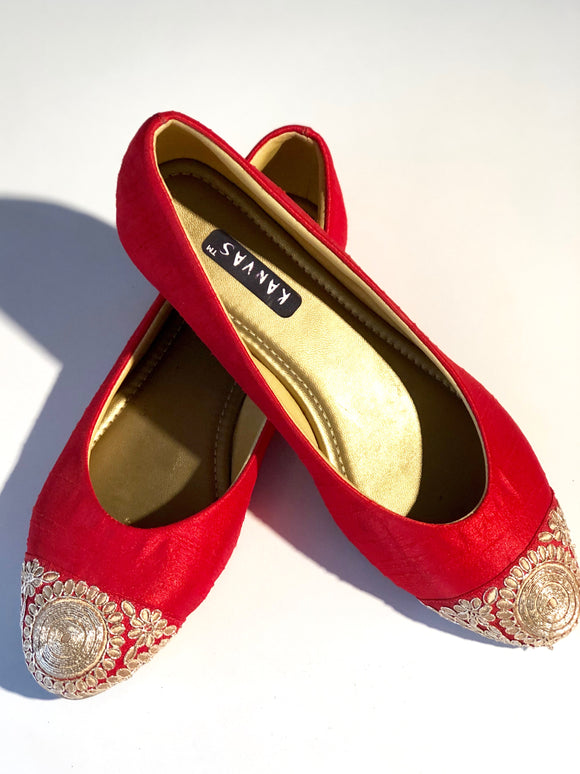Red Embroidered Ballerinas