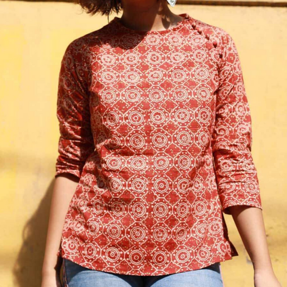 Hand-Block Printed Top - Rust