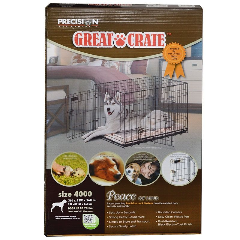 Precision Pet Great Crate Folding Crate - 2 Door Crate (Front & Top Doors) Black