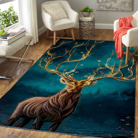 Art Of Deer Area Rug, Animal Print Floor Decor 1910164