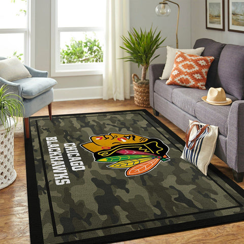Chicago Blackhawks NHL Area Rugs Camo Style Living Room Carpet Team Logo Home Floor Decor