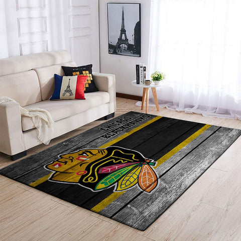 Chicago Blackhawks NHL Team Logo Area Rugs Wooden Style Living Room Carpet Sports Floor Decor