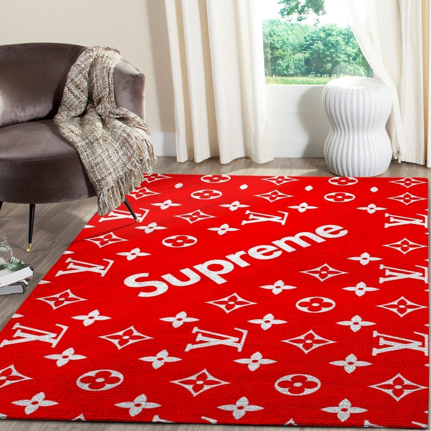 Louis Vuitton Supreme Area Rug, Red Hypebeast Carpet, Luxurious Fashion Brand Logo Living Room  Rugs, Floor Decor 081123