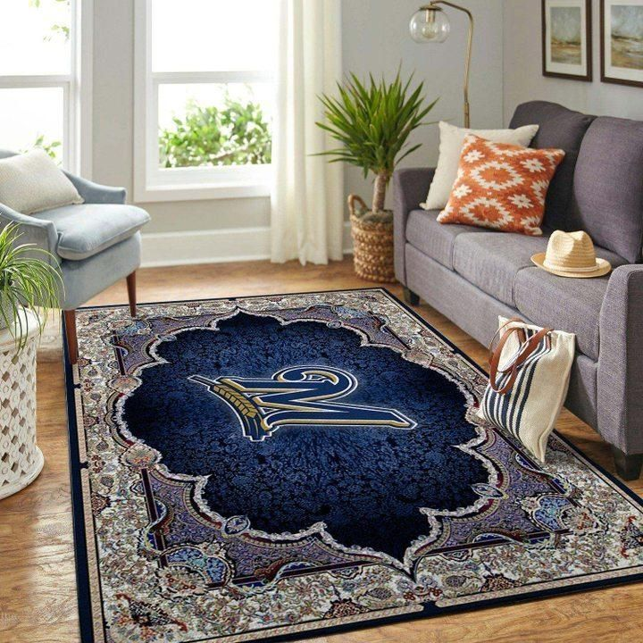 Milwaukee Brewers MLB Baseball Area Rug, Baseball Floor Decor RCDD81F31540