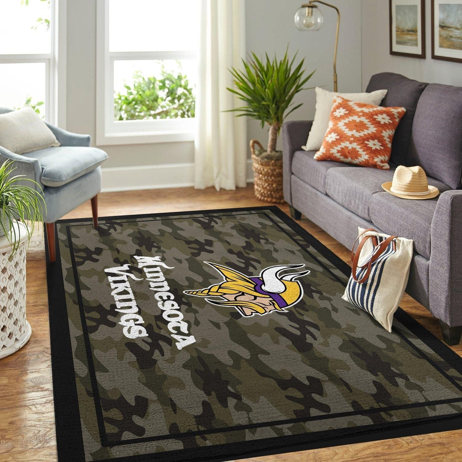 Camo Camouflage Minnesota Vikings Area Rugs NFL Football Team Living Room Carpet Carpet Sport Custom Area Floor Home Decor