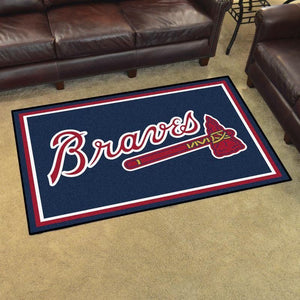 Atlanta Braves MLB Baseball Area Rug, Baseball Floor Decor RCDD81F31299