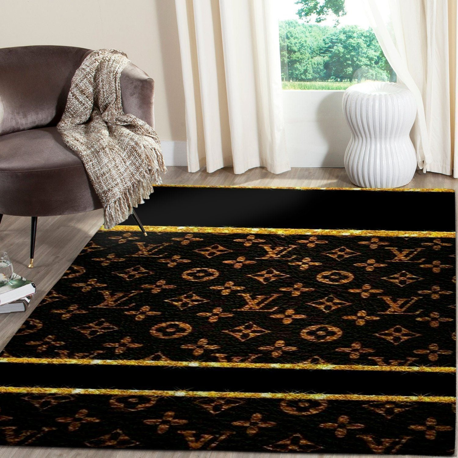 Louis Vuitton Area Rug, Dark Hypebeast Carpet, Luxurious Fashion Brand Logo Living Room  Rugs, Floor Decor 081119