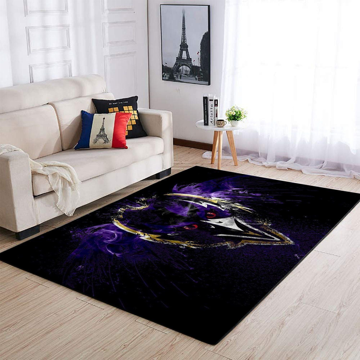 Baltimore Ravens Area Rug, NFL Football Team Logo Carpet, Living Room Rugs Floor Decor 191007