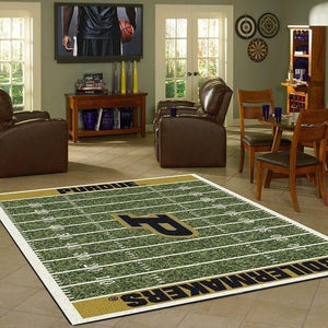 Purdue Boilermakers Home Field Area Rug, Football Team Logo Carpet, Living Room Rugs Floor Decor F102171