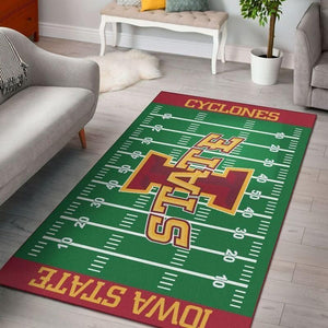 Iowa State Cyclones Home Field Area Rug, Football Team Logo Carpet, Living Room Rugs Floor Decor F102132