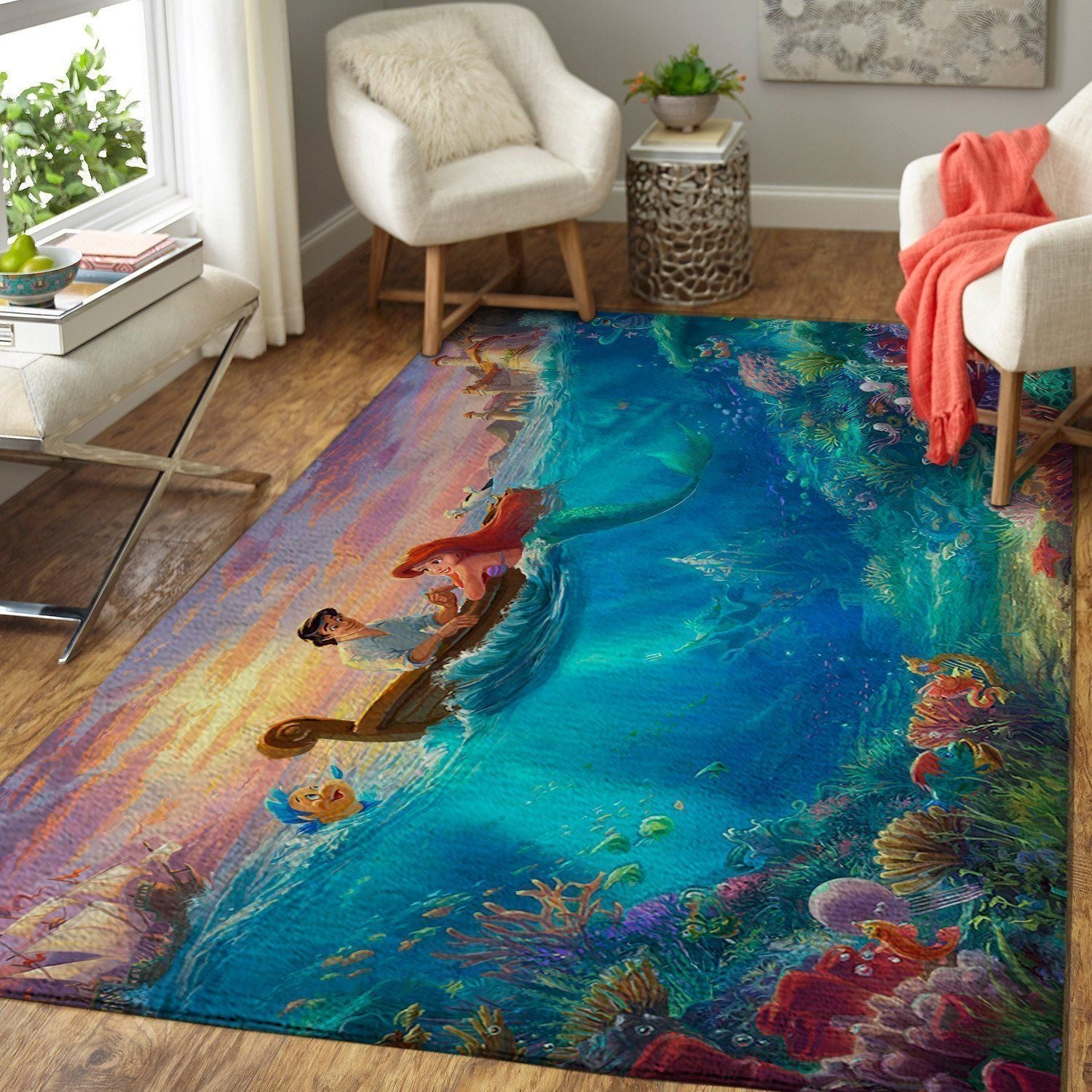 Little Mermaid Area Rugs / Disney Rugs Living Room Carpet, Custom Floor Decor