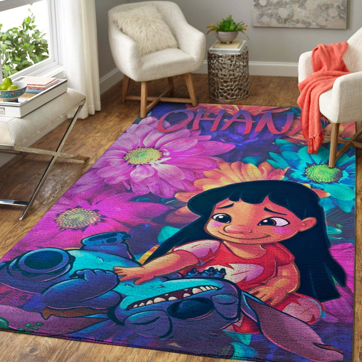 Lilo & Stitch Area Rugs / Disney Movie Living Room Carpet, Custom Floor Decor 04112