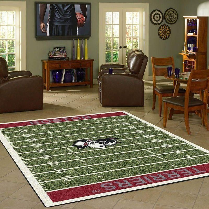Boston University Terriers Home Field Area Rug, Football Team Logo Carpet, Living Room Rugs Floor Decor F102143