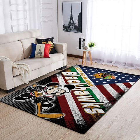 Chicago Blackhawks NHL Area Rugs American Flag & Mickey Living Room Carpet Sports Floor Decor