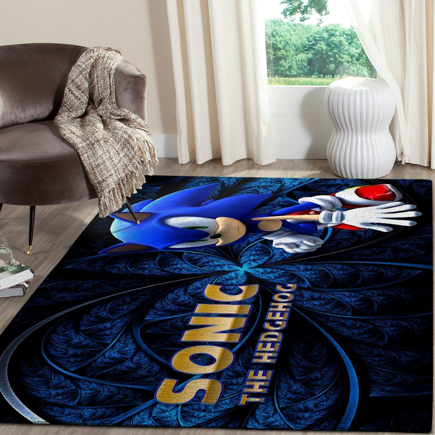 Sonic the Hedgehog Area Rug / Gaming Carpet, Gamer Living Room Rugs, Floor Decor 10117