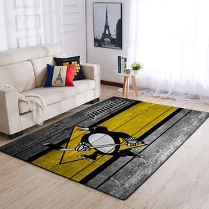 Pittsburgh Penguins NHL Team Logo Area Rugs Wooden Style Living Room Carpet Sports Floor Decor