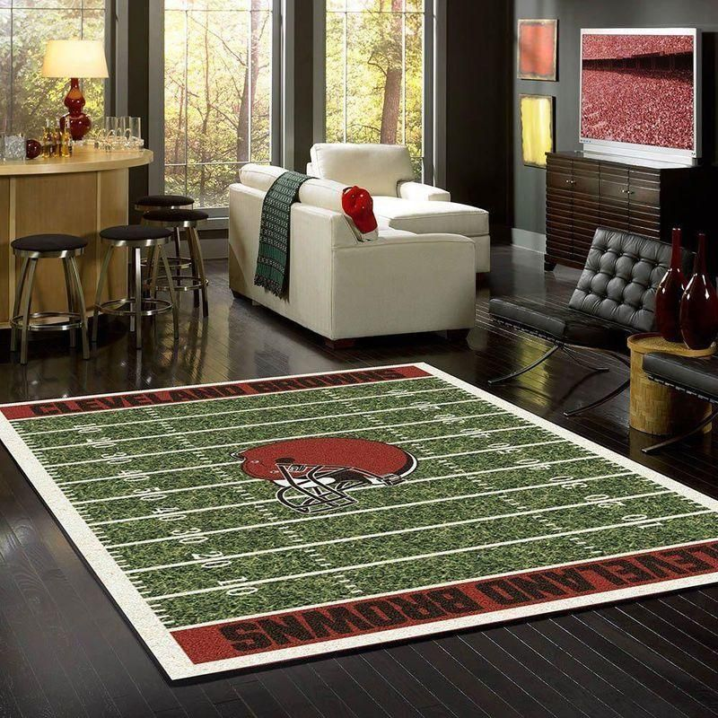 Cleveland Browns Area Rug, NFL Football Team Logo Carpet, Living Room Rugs Floor Decor N1910212