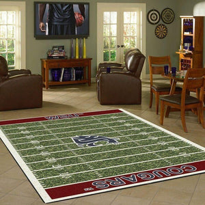 Washington State Cougars Home Field Area Rug, Football Team Logo Carpet, Living Room Rugs Floor Decor F1021100
