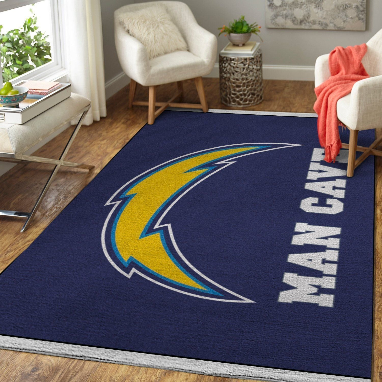 Los Angeles Chargers Logo Man Cave Area Rugs / NFL Football Living Room Carpet Team Logo Custom Floor Home Decor 1910292