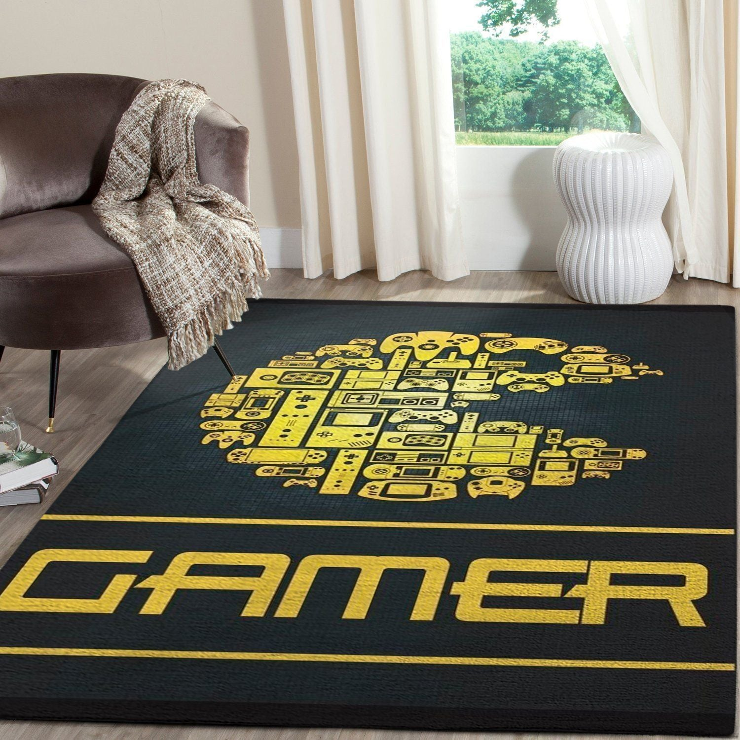 Pacman Area Rug Video Game Carpet, Gamer Living Room Rugs, Floor Decor 101113