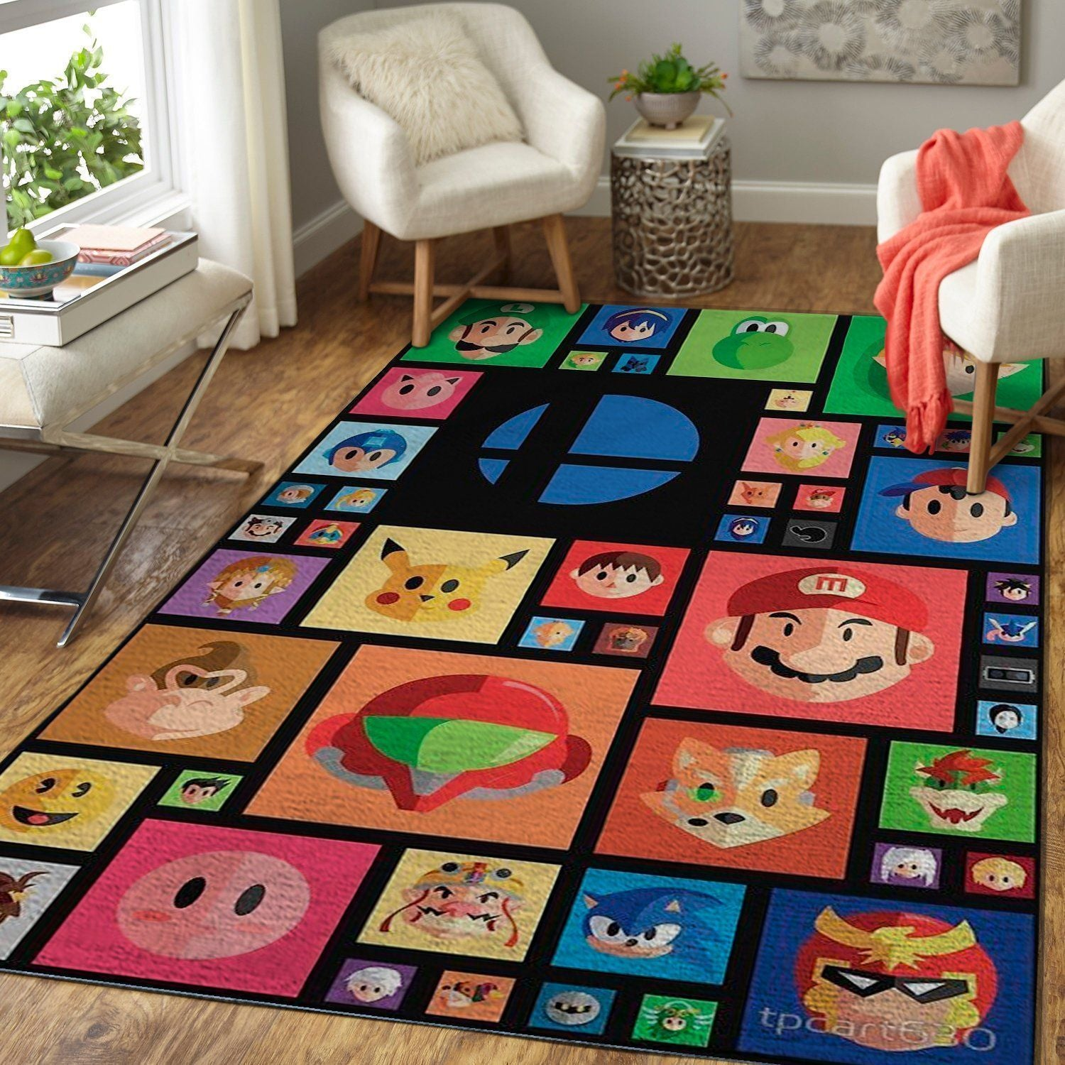 Super Smash Bros. Ultimate Area Rug Nintendo Video Game Carpet, Gamer Living Room Rugs, Floor Decor 1910132