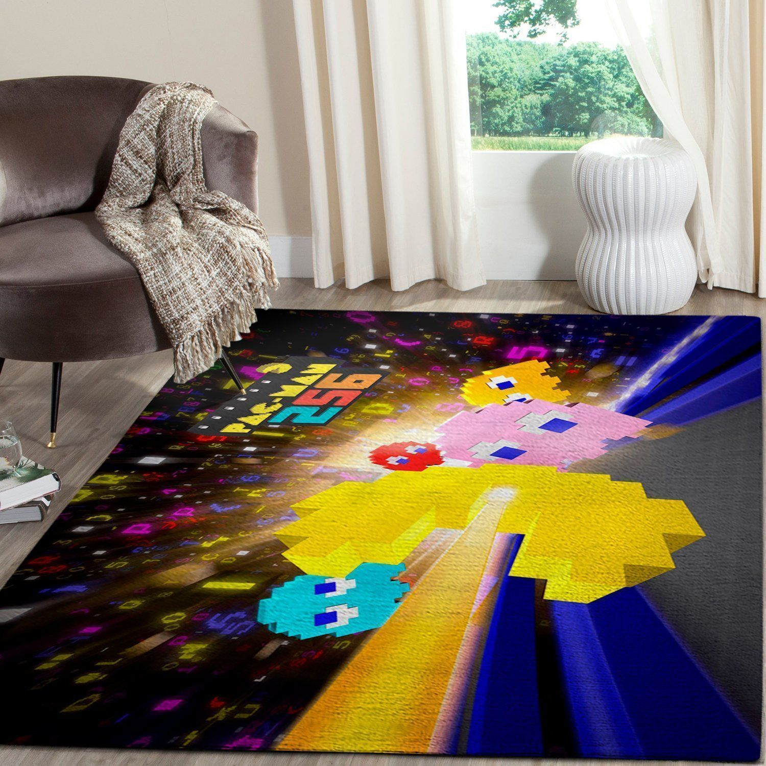 Pacman Area Rug Video Game Carpet, Gamer Living Room Rugs, Floor Decor 10116