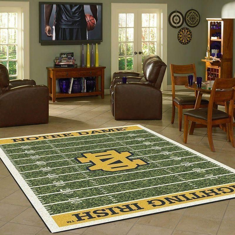 Notre Dame Fighting Irish Home Field Area Rug, Football Team Logo Carpet, Living Room Rugs Floor Decor F102195
