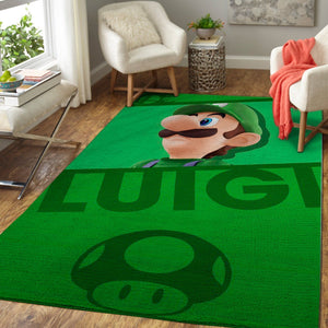 Luigi - Super Mario Bros Area Rug / Nintendo Video Game Carpet, Gamer Living Room Rugs, Floor Decor 1910139