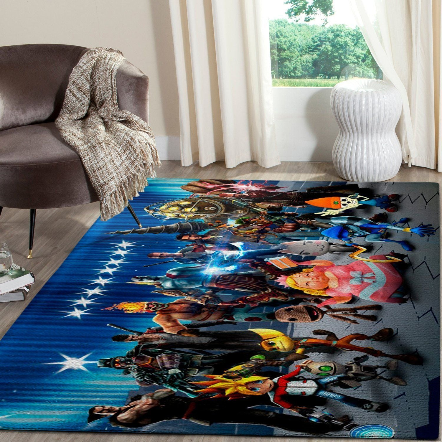 PlayStation Area Rug / Video Game Living Room Rugs, Custom Carpet Floor Decor 08119