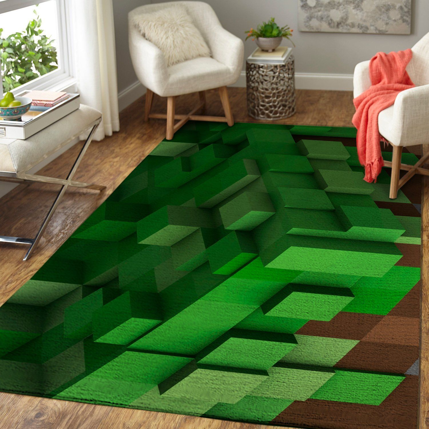 Minecraft Area Rug Video Game Carpet, Gamer Living Room Rugs, Floor Decor M301013