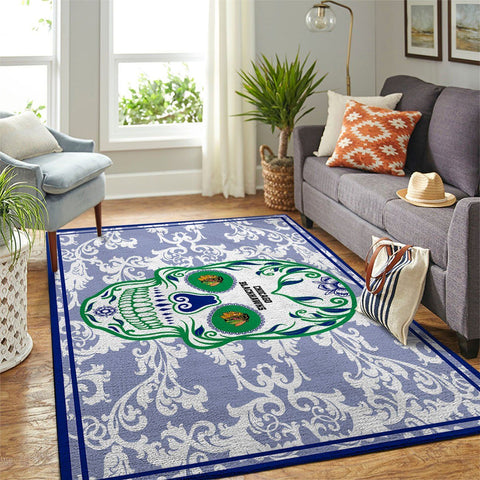 Chicago Blackhawks NHL Area Rugs Skull Flower Style Living Room Carpet Sports Floor Decor