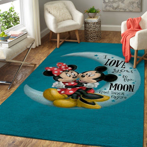 "Mickey Mouse Area Rugs, Disney Movie Living Room Carpet, Custom Floor Decor - ""I love you to the moon & back"""