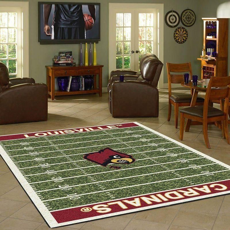 Louisville Cardinals Home Field Area Rug, Football Team Logo Carpet, Living Room Rugs Floor Decor F102138
