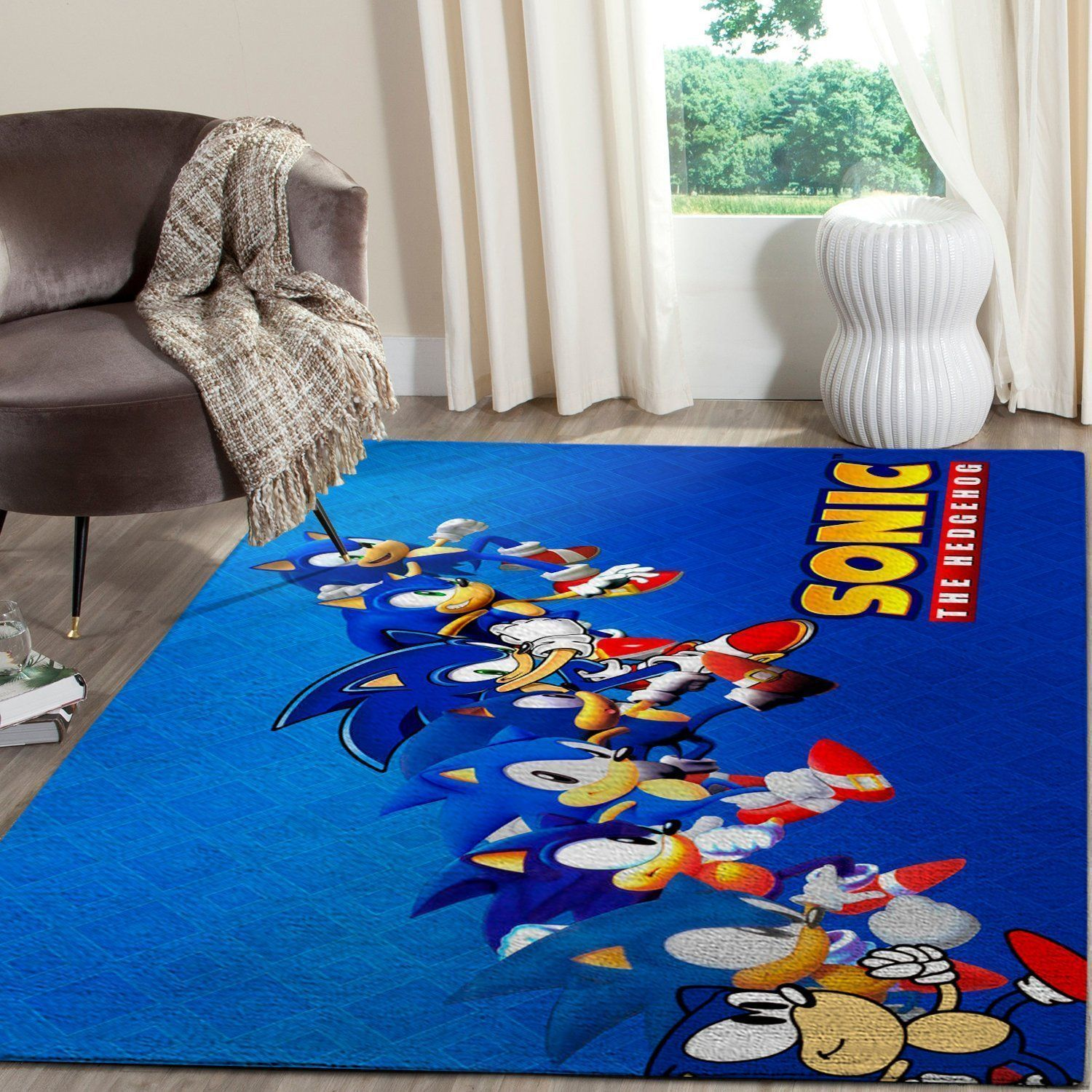Sonic the Hedgehog Area Rug / Gaming Carpet, Gamer Living Room Rugs, Floor Decor 10118