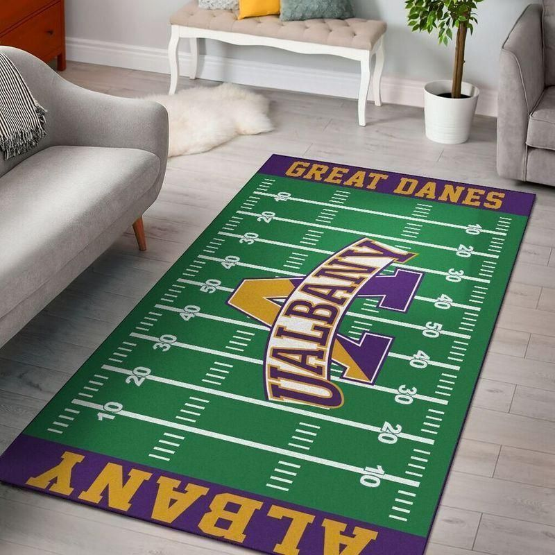 Albany Great Daness Home Field Area Rug, Football Team Logo Carpet, Living Room Rugs Floor Decor F102135