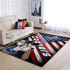 Los Angeles Dodgers MLB Area Rugs American Flag & Mickey Living Room Carpet Sports Floor Decor