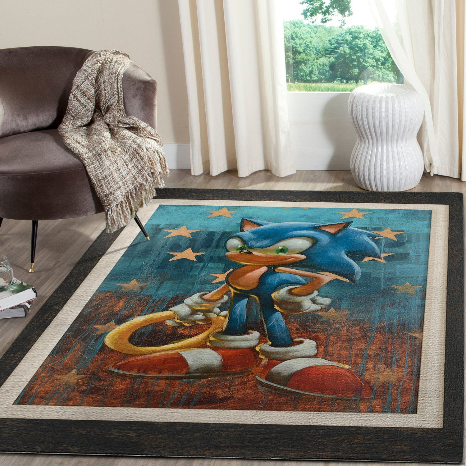 Sonic the Hedgehog Area Rug / Gaming Carpet, Gamer Living Room Rugs, Floor Decor 101117