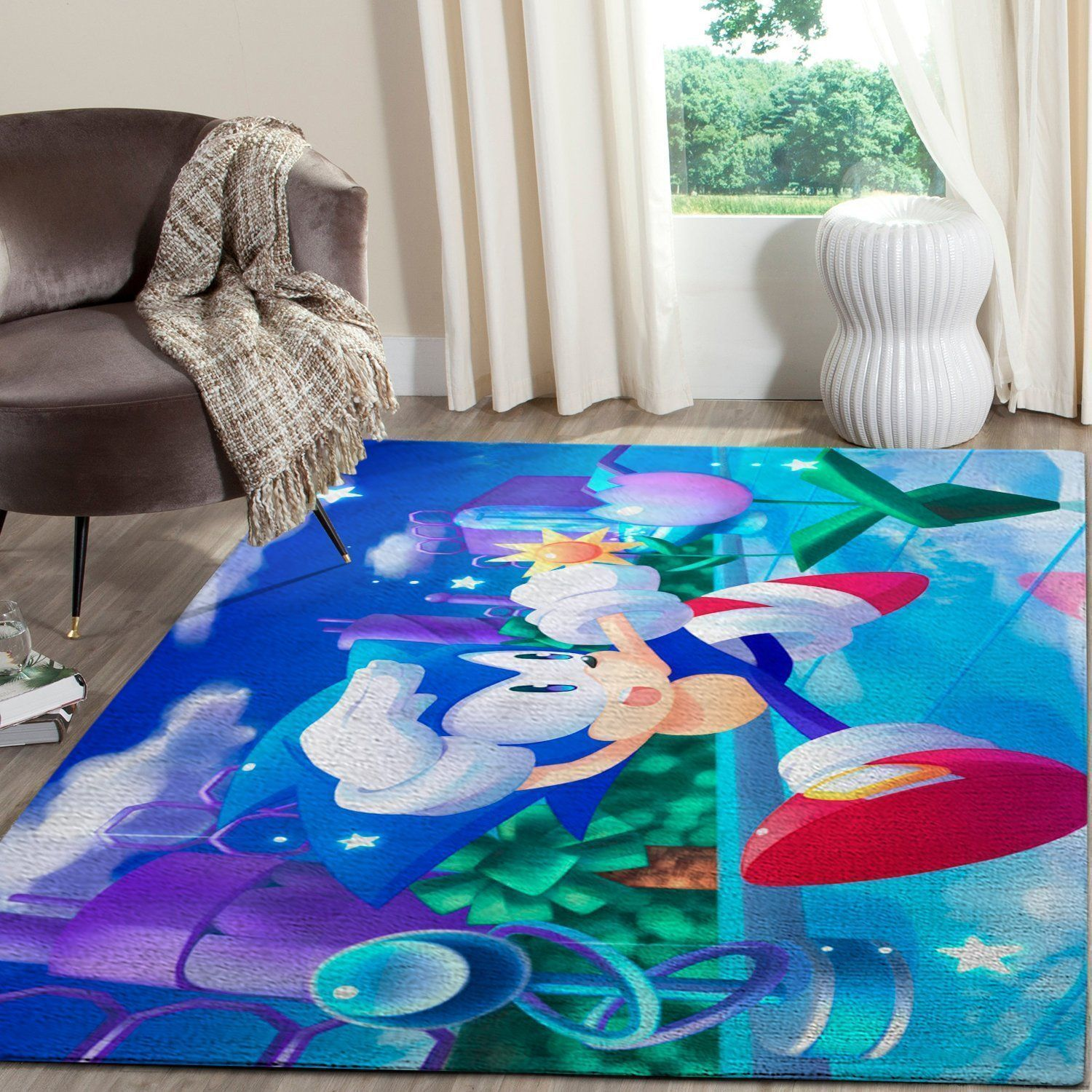 Sonic the Hedgehog Area Rug / Gaming Carpet, Gamer Living Room Rugs, Floor Decor 101112